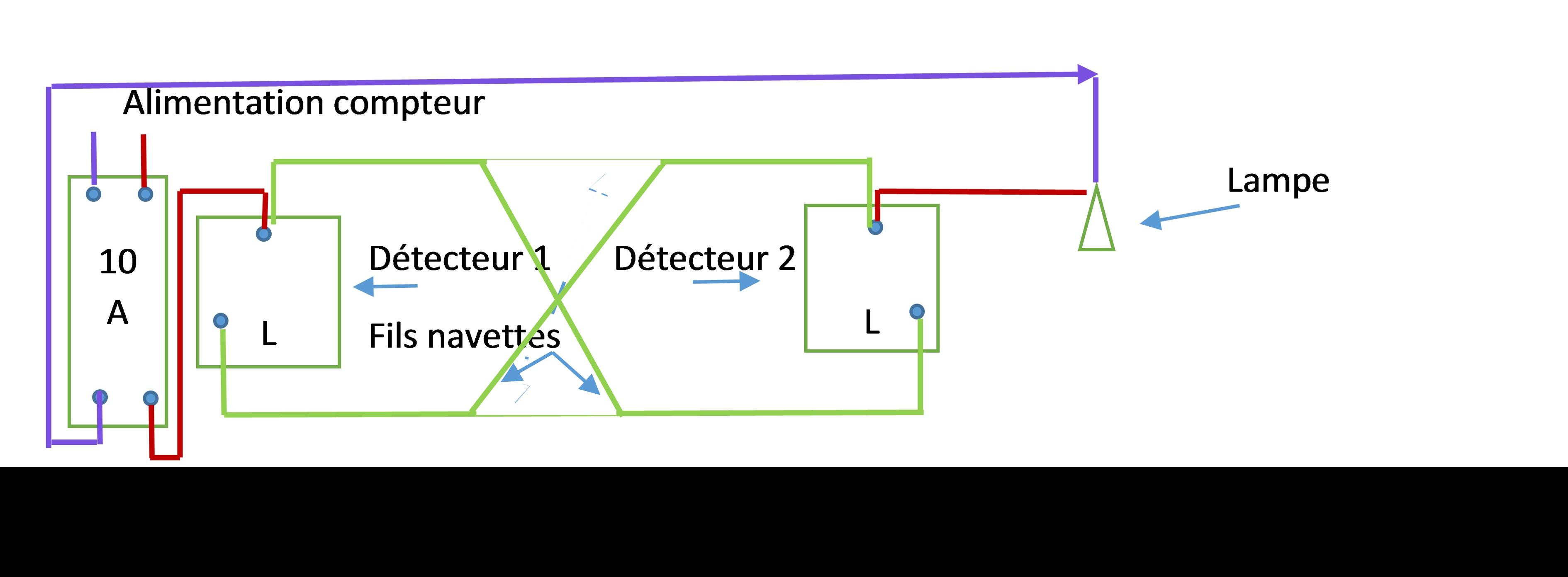 Remplacer un va et vient par des d tecteurs de pr sence en 2 fils c liane ou autre les - Branchement d un detecteur de mouvement ...